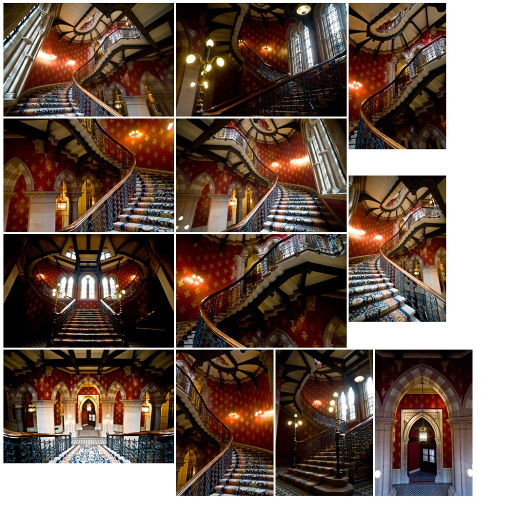multiple photos of the same staircase