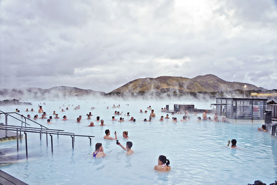 Blue Lagoon Pool and crowd